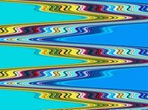 在蓝色背景的抽象橙色绿色黄色温和路线 免版税库存照片