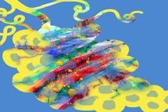 在蓝色背景的抽象油漆水彩形状 库存图片