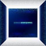在蓝色背景的抽象3d电子计划 免版税库存照片