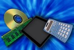 在蓝色背景的数字式设备 免版税库存图片