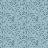 在蓝色背景的无缝的花卉样式 免版税库存照片