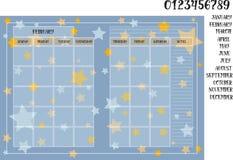 在蓝色背景的月度计划者书与星 免版税库存图片