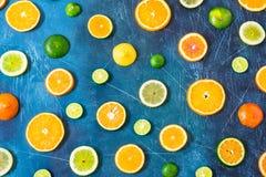 在蓝色背景的柑橘样式 被分类的柑橘水果 切片桔子,蜜桔,柠檬,石灰 顶视图 免版税库存照片