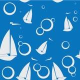 在蓝色背景的样式游艇 免版税库存图片