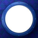 在蓝色背景的框架圆的舷窗 免版税库存照片