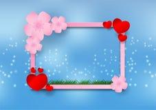 在蓝色背景的樱花和框架纸艺术样式有心脏的 导航例证,华伦泰` s天概念 库存图片