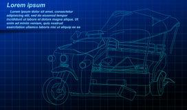 在蓝色背景的残破的三轮车概述 向量例证