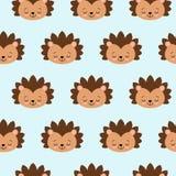 在蓝色背景的猬无缝的样式 逗人喜爱的动画片动物背景 Kawaii 向量例证