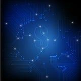 在蓝色背景的电子线路和美元标志 免版税库存图片