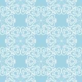 在蓝色背景的白色花卉无缝的样式 免版税库存图片