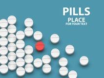 在蓝色背景的白色医疗药片 疫苗的概念 图库摄影