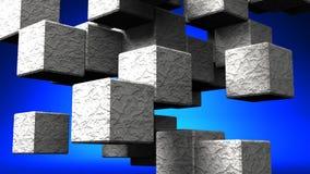 在蓝色背景的石立方体摘要 库存例证