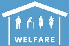 在蓝色背景的福利救济概念 库存照片