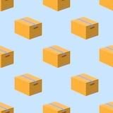 在蓝色背景的箱子纸盒无缝的样式 平的设计传染媒介 免版税库存图片