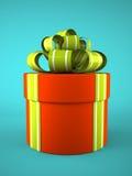 在蓝色背景的红色圆的礼物盒 免版税库存照片