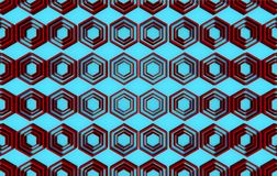 在蓝色背景的红色抽象六角形样式背景 库存照片