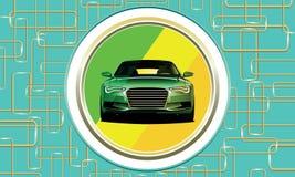 在蓝色背景的绿色汽车变色蜥蜴与线路 库存图片