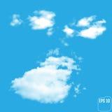 在蓝色背景的美妙的现实轻的云彩 向量 库存例证