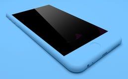 在蓝色背景的蓝色IPhone 免版税库存图片