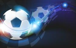 在蓝色背景的足球 库存图片