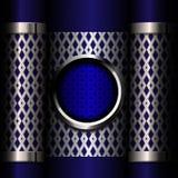 在蓝色背景的金属格栅 免版税库存图片