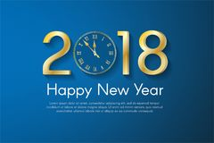 在蓝色背景的金黄新年2018年概念 传染媒介贺卡例证 免版税库存图片