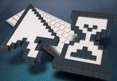 在蓝色背景的键盘 计算机标志 3d翻译 3d例证 库存图片
