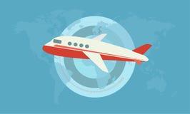 在蓝色背景的飞机与世界的地图 免版税图库摄影