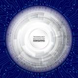 在蓝色背景的高科技计算机科技 库存图片
