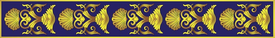在蓝色背景的经典金装饰品 向量例证