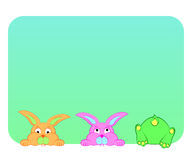 在蓝色背景的滑稽的兔子 免版税图库摄影