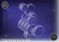 在蓝色背景的建造机器的图画,轮子 图库摄影