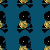 在蓝色背景的头骨无缝的样式 库存例证