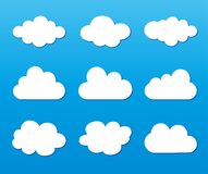 在蓝色背景设置的云彩 免版税库存照片