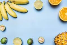 在蓝色背景设置的时髦果子,微型香蕉,石灰,桔子,排行了框架,文本的,顶视图空间 免版税库存照片