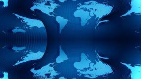 在蓝色背景转动的地球地图 向量例证