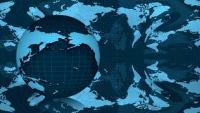 在蓝色背景转动的地球 皇族释放例证