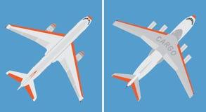 在蓝色背景隔绝的大民航飞机和货物飞机 库存图片