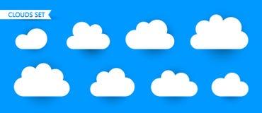 在蓝色背景隔绝的套云彩 免版税库存图片