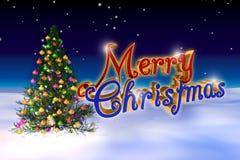 在蓝色背景隔绝的装饰的圣诞树 库存图片