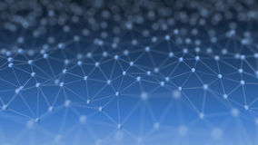 在蓝色背景3d例证的抽象神经网络 免版税库存照片