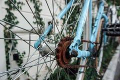 在蓝色自行车的铁锈 免版税图库摄影