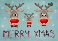 在蓝色葡萄酒背景的逗人喜爱的滑稽的驯鹿家庭与文本圣诞快乐 库存图片