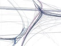 在蓝色螺纹一条混乱射线的抽象分数维  免版税库存图片