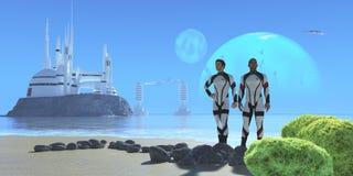 在蓝色行星的殖民地基地 库存图片