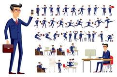 在蓝色衣服传染媒介的年轻动画片商人 图库摄影