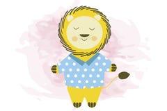 在蓝色衬衣-传染媒介例证的逗人喜爱的微笑的动画片狮子 库存例证