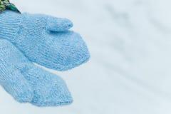 在蓝色被编织的手套的手在雪 免版税图库摄影