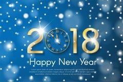 在蓝色雪模糊的背景的金黄新年2018年概念 传染媒介贺卡例证 免版税库存图片