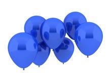 在蓝色颜色的七个当事人气球 库存图片
